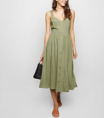 Khaki Linen Look Button Front Midi Dress