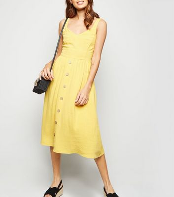 Yellow Linen Look Button Front Midi Dress