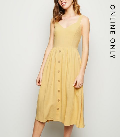 7681a8fa1bf4 ... Pale Yellow Linen Look Button Front Midi Dress ...