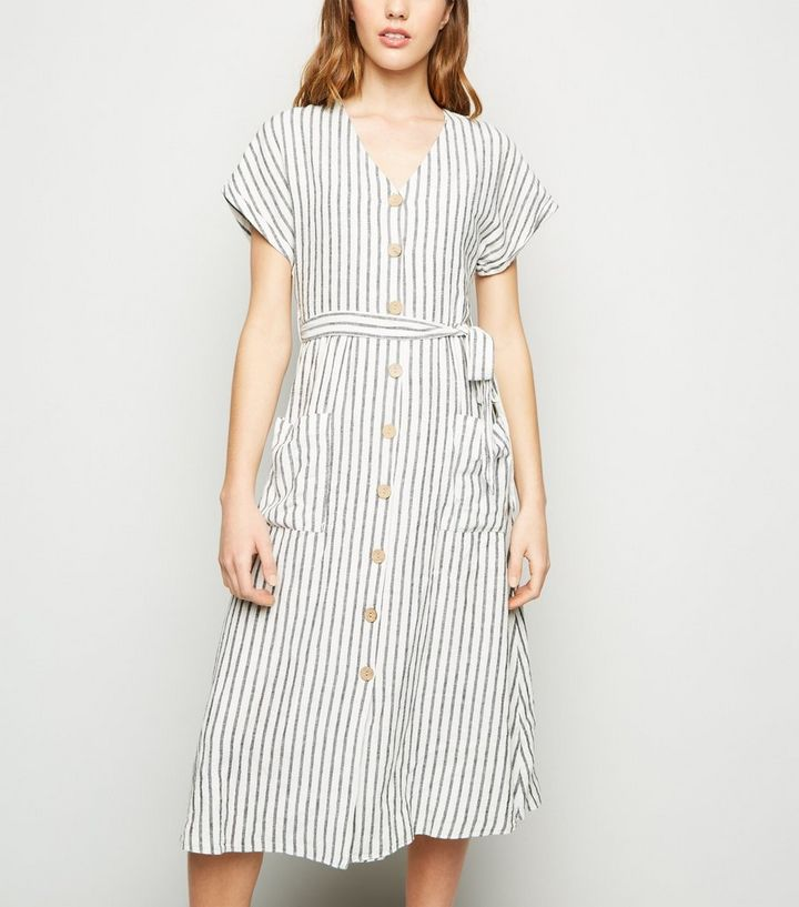 dbdcf398c7e57 Off White Stripe Linen Blend Midi Dress | New Look