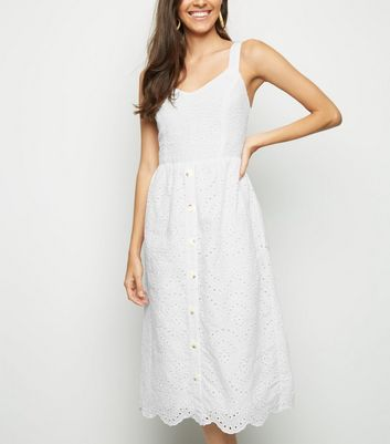 White Broderie Button Front Midi Dress