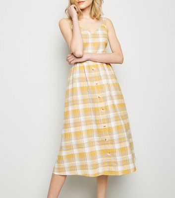 Yellow Check Linen-Blend Button Midi Dress