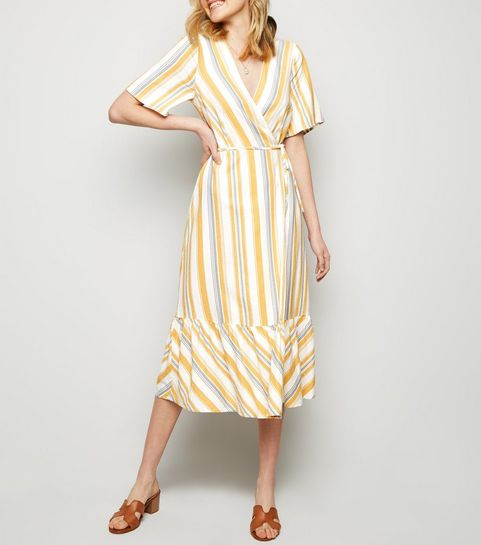 ... Off White Stripe Tiered Wrap Tie Dress ... a99072ecf