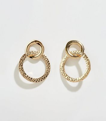 Gold Linked Hammered Ring Earrings