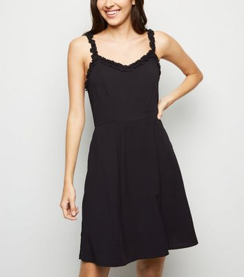 Black Ruffle Strap Mini Dress