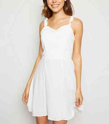 White Ruffle Strap Mini Dress