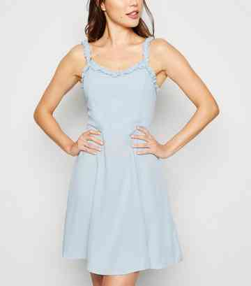 Pale Blue Ruffle Strap Mini Dress