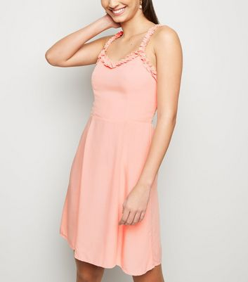 Mid Pink Ruffle Strap Mini Dress