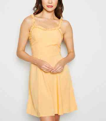 Pale Yellow Ruffle Strap Mini Dress
