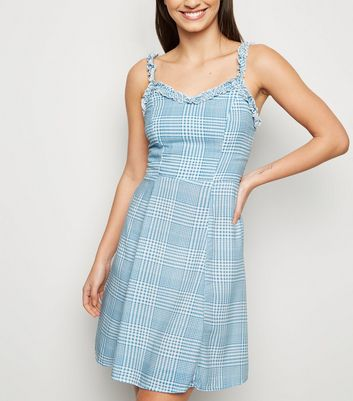 Blue Check Ruffle Trim Sundress