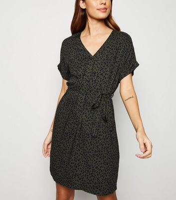 Green Spot Print Belted Tunic Dress