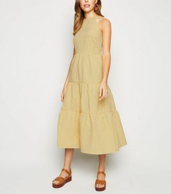 Yellow Gingham Halterneck Tiered Midi Dress
