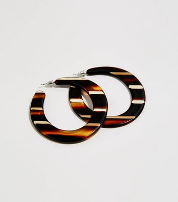 Brown Resin Stripe Hoop Earrings