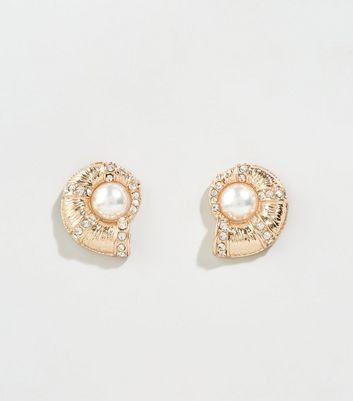 Gold Faux Pearl Fossil Shape Stud Earrings