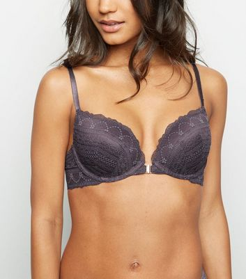 Light Purple Geometric Lace Plunge Bra