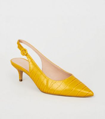 Wide Fit Yellow Faux Croc Kitten Heel Slingbacks