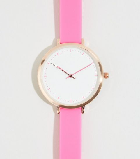 0853b0830354 ... Bright Pink Silicon Strap Watch ...