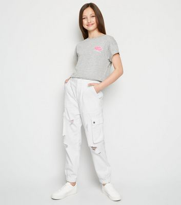 Girls White Ripped Utility Trousers