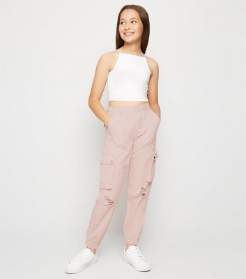 Girls Pink Ripped Utility Trousers