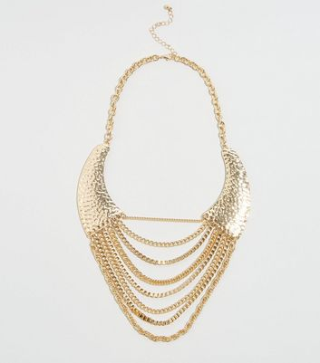 Gold Chain Drape Bib Necklace