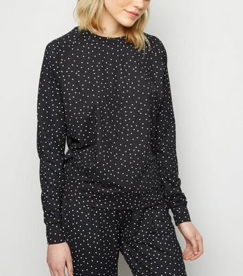 Tall Black Spot Print Soft Touch Pyjama Sweatshirt