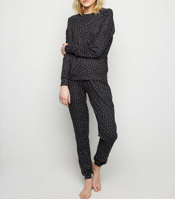 Tall Black Spot Print Soft Touch Pyjama Bottoms