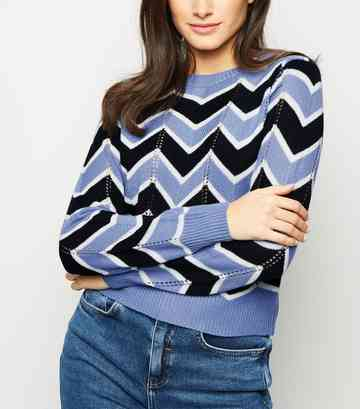 Blue Pointelle Zig Zag Jumper