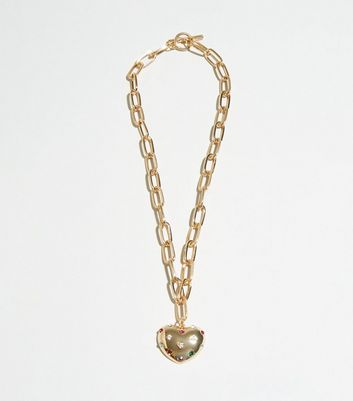 Gold Gem Embellished Heart Chain Necklace