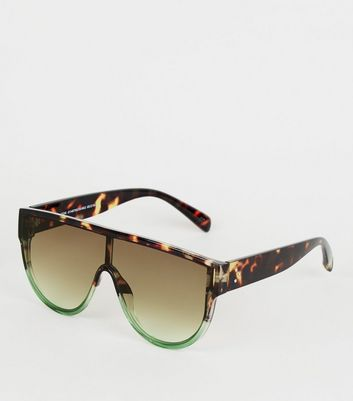 Green Faux Tortoiseshell Flat Top Sunglasses