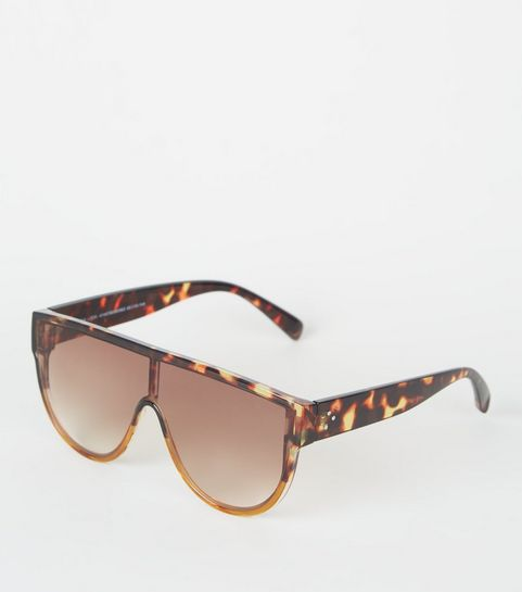 6391bdb05a8 ... Yellow Faux Tortoiseshell Flat Top Sunglasses ...
