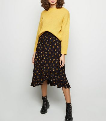 Black Ditsy Floral Frill Wrap Midi Skirt