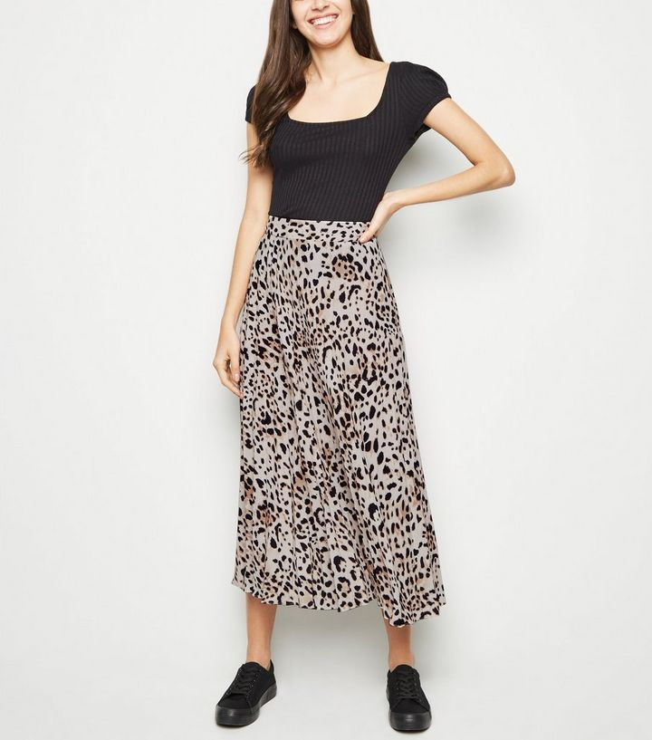 61a957031ec2f Brown Leopard Print Pleated Midi Skirt
