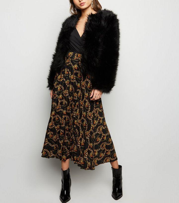 b7cbee076c Black Chain Print Pleated Midi Skirt | New Look