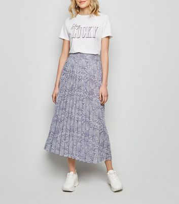 Lilac Snake Print Pleated Midi Skirt