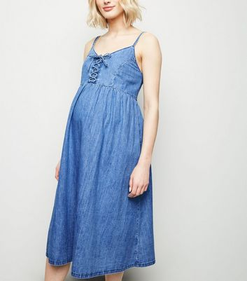 Maternity Blue Denim Lace Up Midi Dress