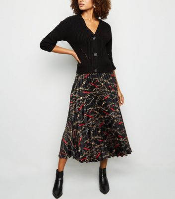 Black Chain Print Pleated Midi Skirt