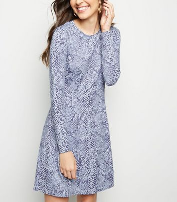 Lilac Snake Print Soft Touch Skater Dress