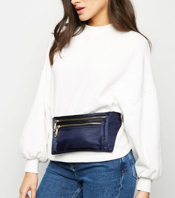 Navy High Shine Utility Zip Bum Bag