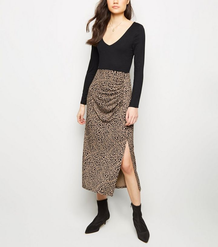 super service save off special promotion Brown Leopard Print Side Split Midi Skirt Add to Saved Items Remove from  Saved Items