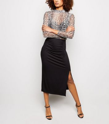 Black Side Split Jersey Midi Skirt