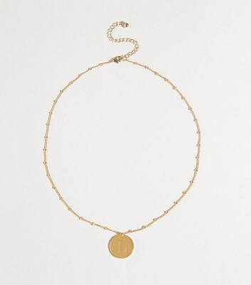 Gold Plated L Initial Pendant Necklace