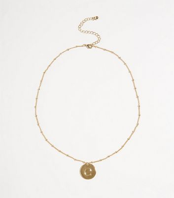 Gold Plated C Initial Pendant Necklace