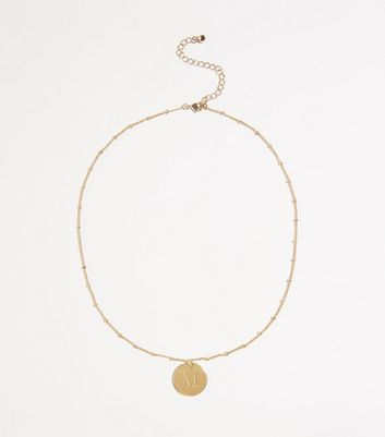 Gold Plated M Initial Pendant Necklace