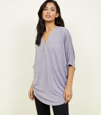 Blue Vanilla Lilac Studded Zip Front Batwing Top