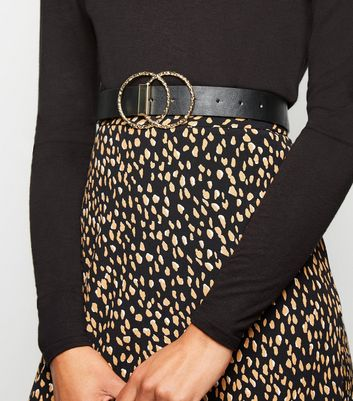 Black Leather-Look Hammered Double Ring Belt