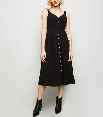 Black Pocket Front Button Through Midi Dress by New Look