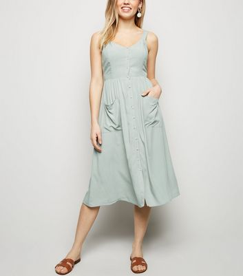 Mint Green Pocket Front Button Up Midi Dress