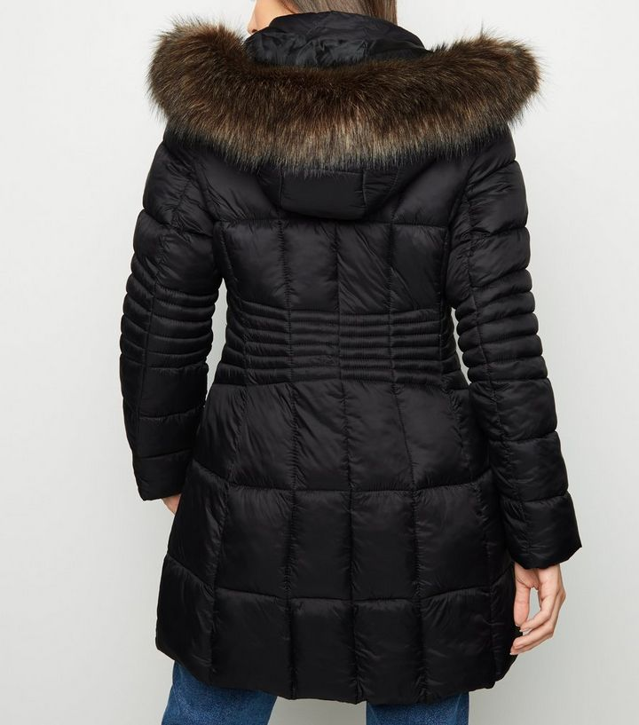 49fe98661d1 Black Fitted Longline Puffer Jacket Add to Saved Items Remove from Saved  Items