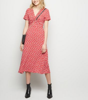 Red Floral Print Knot Front Midi Dress