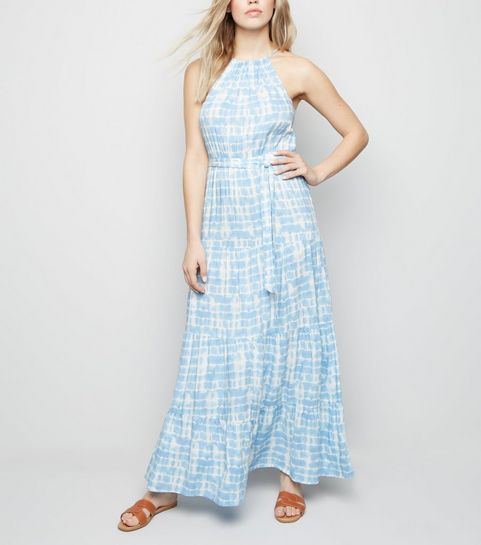 1e06db32be47e0 ... Blue Tie Dye Halterneck Maxi Dress ...